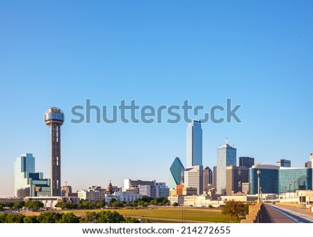 Overview of downtown Dallas in the evening - stock photo
