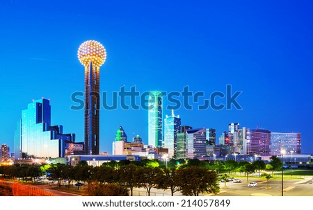 Overview of downtown Dallas in the night - stock photo