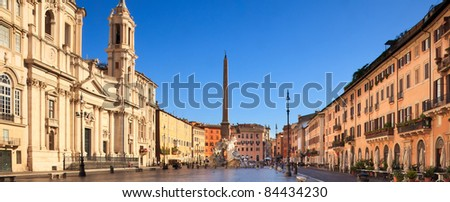 Overview of famous piazza navona, Rome, italy, in early morning with beautiful light and still empty of tourists - stock photo