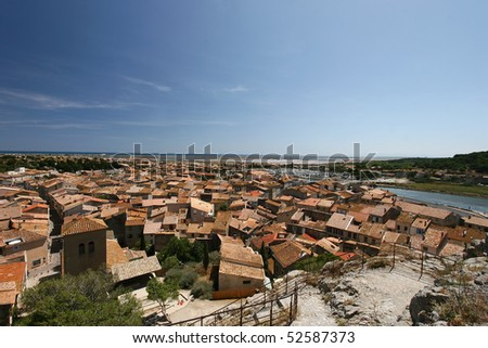 Overview of Gruissan Town - South of france - stock photo