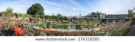 overview of Kensington Gardens, Palace, London, England - stock photo