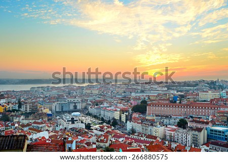 Overview of Lisbon city center and Tagus river at sunset, Portugal - stock photo