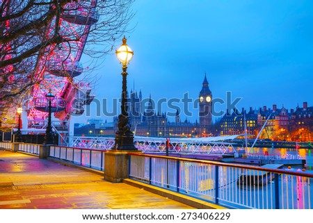 Overview of London, UK with the Clock tower early in the morning - stock photo