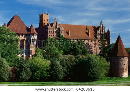 Overview of medieval Malbork castle in Poland