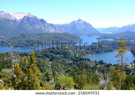 Overview of Nahuel Huapi national park and Lake - Argentina - stock photo