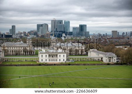 Overview of National Maritime Museum and City Skyline with Cloudy Sky in London, England - stock photo