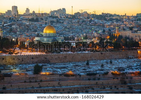 Overview of Old City in Jerusalem, Israel with The Golden Dome Mosque - stock photo