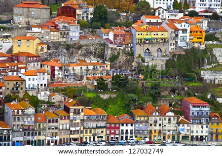 overview of old town of Porto, Portugal - stock photo