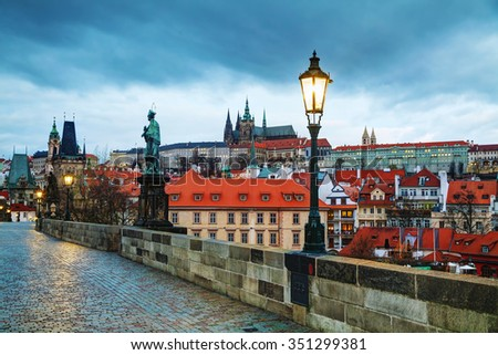 Overview of Prague with St Vitus Cathedral at sunrise
