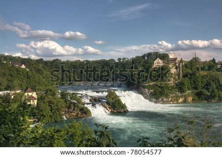 Overview of Rhinefall - the biggest waterfall in Europe (HDR version) - stock photo