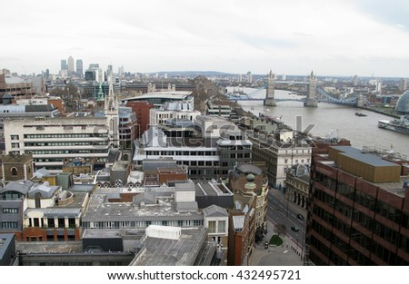 Overview of River Thames, tower bridge and London City hall - stock photo