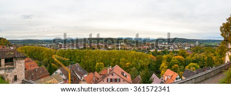 Overview of Tübingen University city in south Germany - stock photo