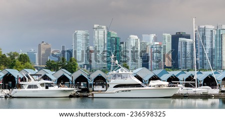 overview of the city of Vancouver in Canada - stock photo
