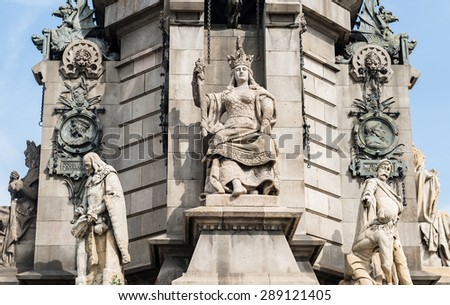 Overview of the monument to Christopher Columbus in Barcelona - stock photo
