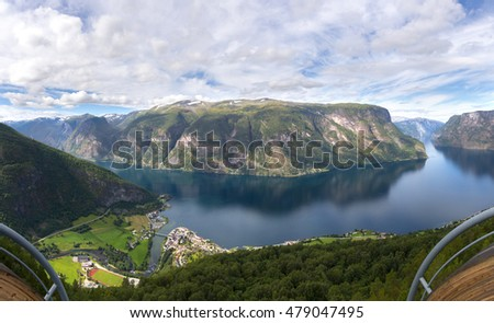 overview of the Sognefjord from Stegastein view point in Norway