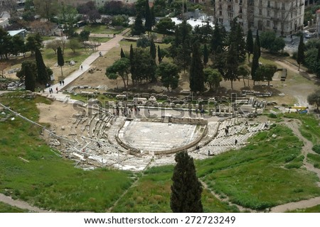 overview of the Theatre Dionysus Eleuthereus Athens, Greece - stock photo