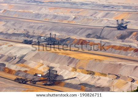 Overview of very large backloader at work in a lignite (browncoal) mine - stock photo