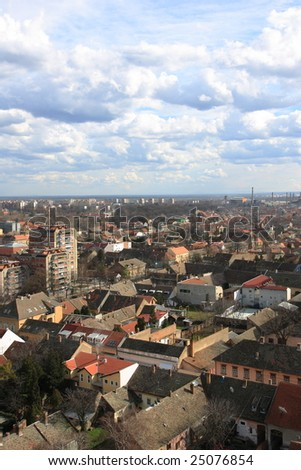 Overview on the city of Pancevo in Serbia - stock photo
