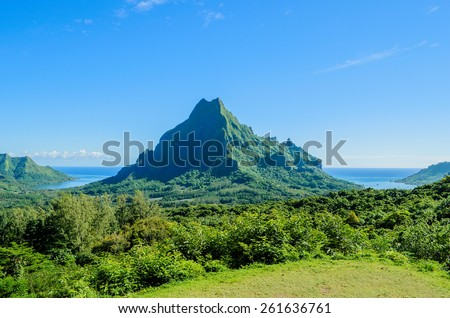 Overview over the green jungle on Rotui mountain with Cook's Bay and Opunohu Bay on the tropical pacific island of Moorea, near Tahiti in French Polynesia. - stock photo
