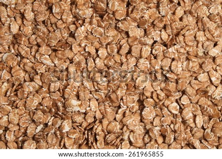 Overview photograph of oat flakes, rolled grains. Healthy lifestyles and nutrition - stock photo