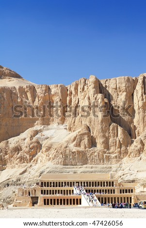 Overview Temple of Queen  Hatshepsut  at Luxor .Egypt