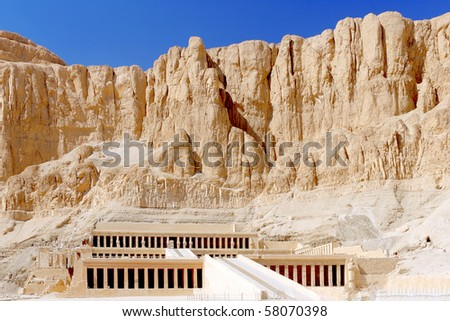 Overview Temple of Queen Hatshepsut at Luxor .Egypt - stock photo