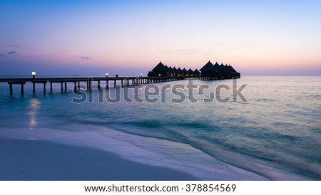Overwater Bungalow. Ocean in the Maldives. Vacation in luxury hotel - stock photo