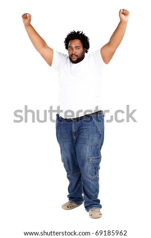 overweight african american man arms up - stock photo