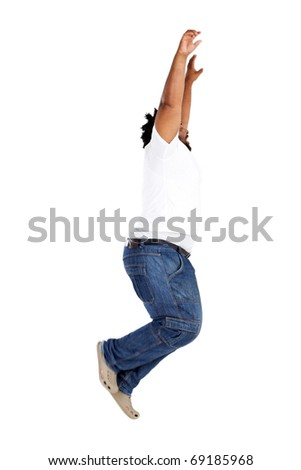 overweight african american man jumping over white - stock photo