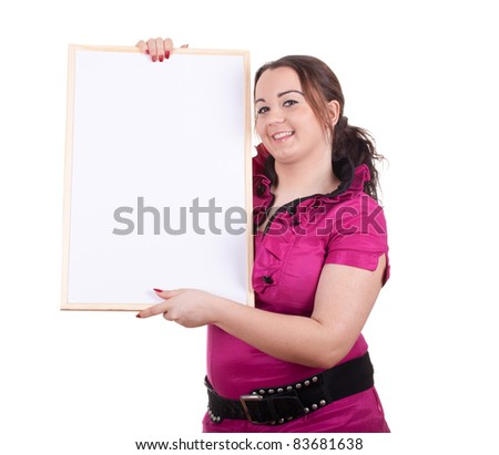 overweight, fat woman with blank sign, billboard - stock photo