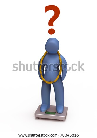 Overweight  little man with the weight scale. Isolated white background. - stock photo