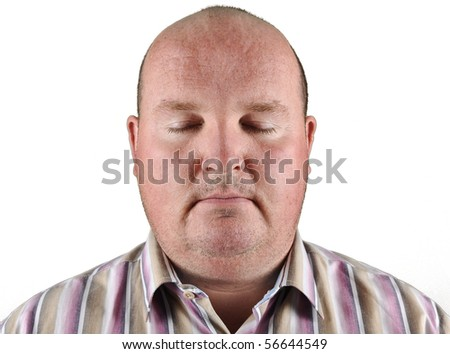 overweight male portrait - stock photo