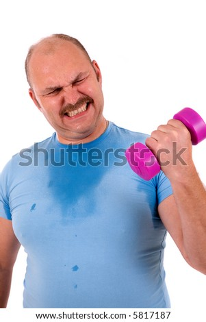 Overweight man clearly in trouble lifting a small dumbbel