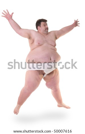 Overweight man doing excercise. Isolated on white. - stock photo