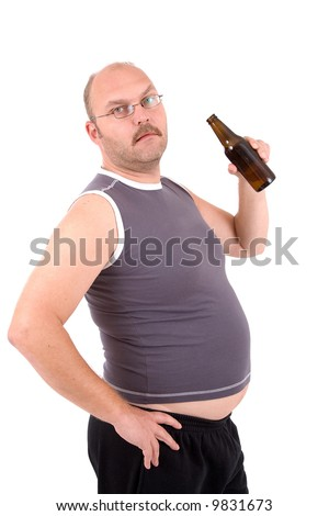 Overweight man holding a beerbelly and sticking out his beer belly