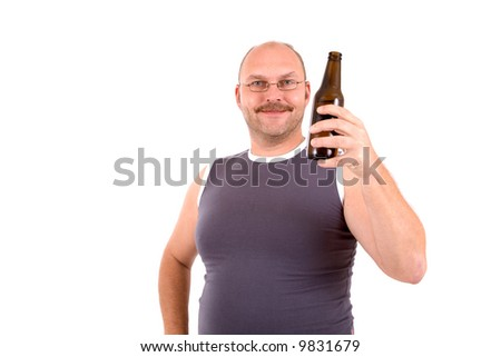 Overweight man holding a bottle of beer in his hand - stock photo
