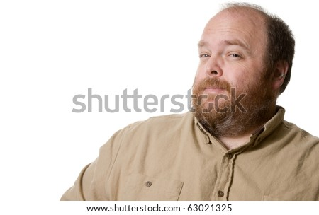 Overweight man leering at the viewer