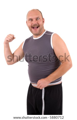 Overweight man looking very happy because he lost some pounds - stock photo