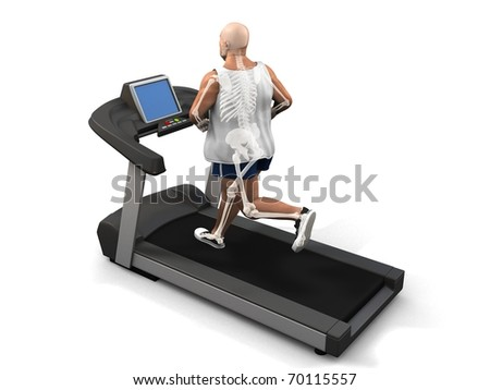 overweight man on the treadmill - visible skeleton - stock photo