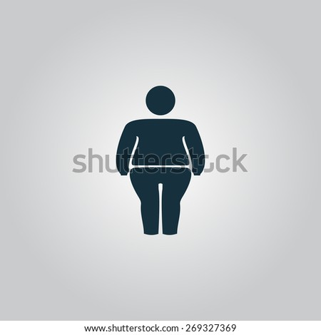 Overweight man symbol. Flat web icon, sign or button isolated on grey background. Collection modern trend concept design style illustration symbol - stock photo