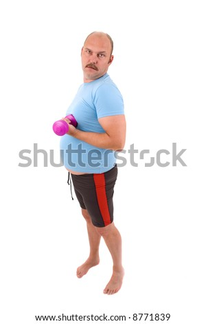 Overweight man with big beerbelly is doing weight exercises - stock photo