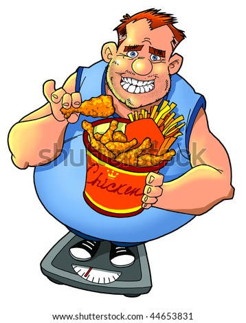 overweight man with fastfood on weight scale - stock photo