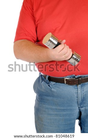 Overweight man with weights - stock photo