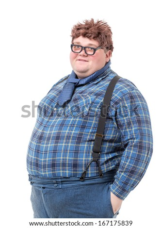 Overweight obese country yokel, on white background