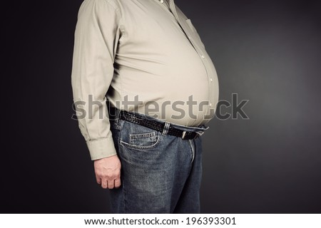 Overweight stomach  - stock photo
