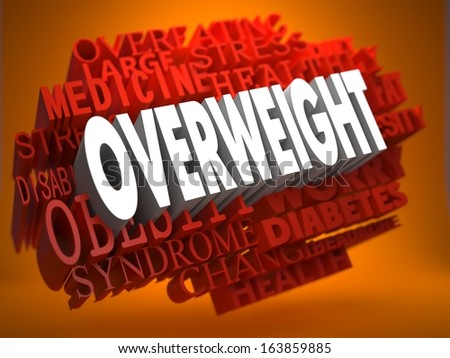 Overweight - the Word in White Color on Cloud of Red Words on Orange Background. - stock photo