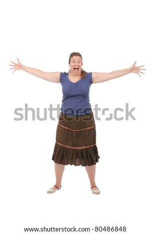 Overweight trashy woman - stock photo