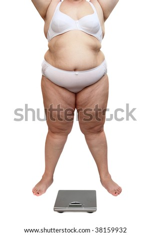 overweight woman body in underwear and scales isolated on white - stock photo