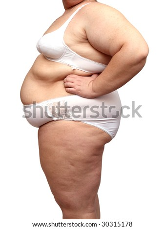overweight woman body in underwear isolated on white - stock photo