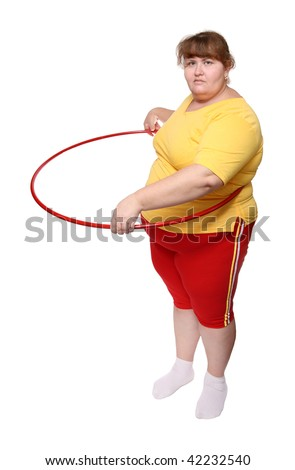 overweight woman exercising with hoop isolated on white - stock photo
